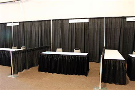 trade show booth with 3 ft side drape