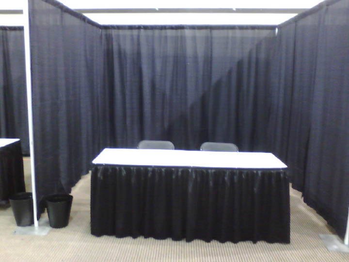booth with 8 ft side drape