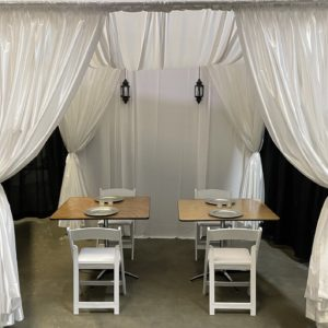 wedding canopy with swag top with top and tables