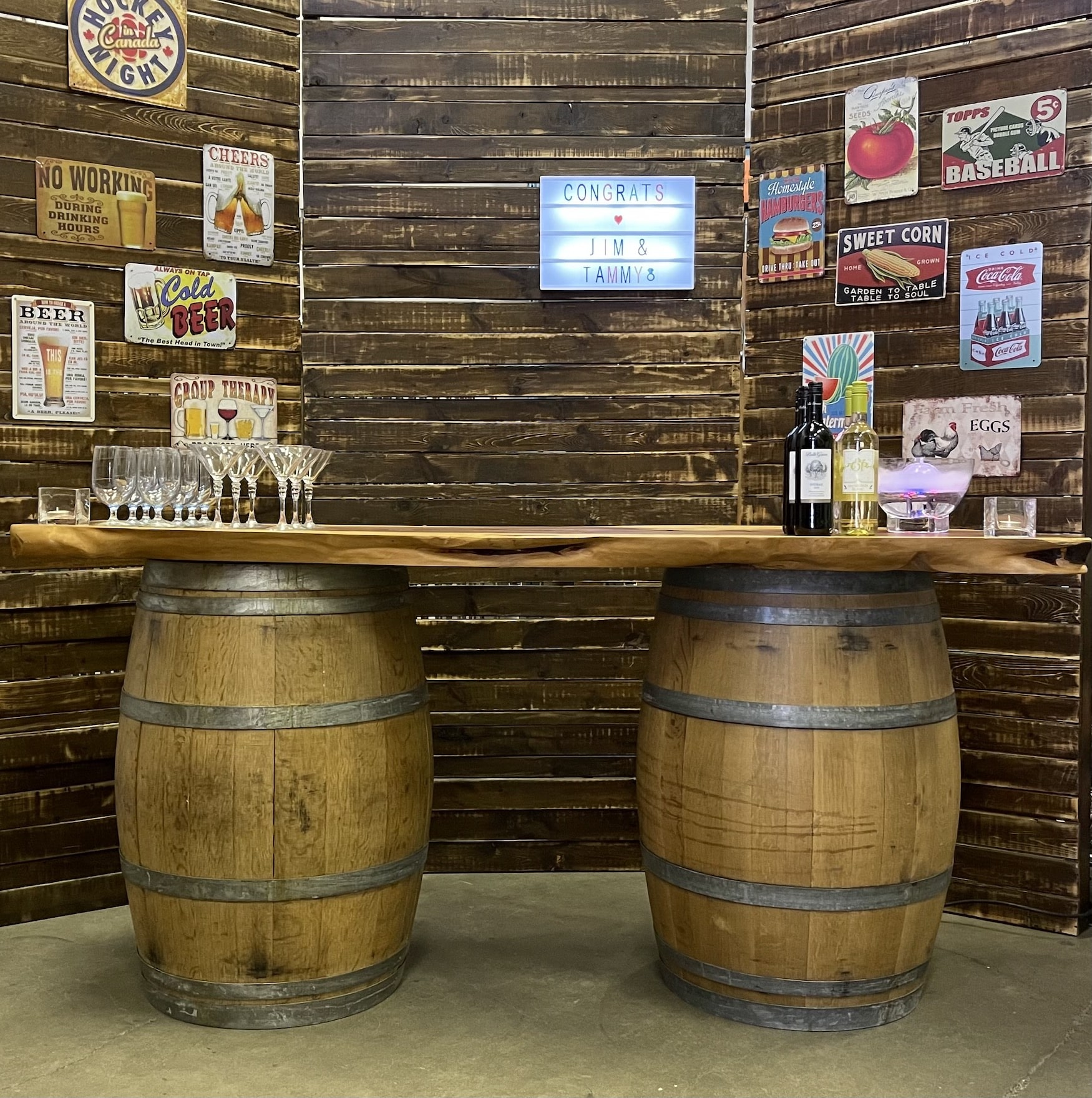 Rustic wood slab with wine barrels